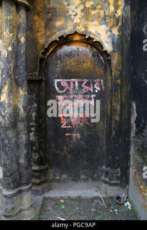 Door in Sonargaon, Bangladesh , with bengali writings - Stock Image