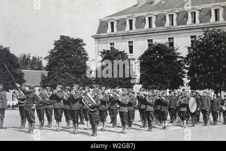 Regimental band giving a concert in France ca. 1916-1919 - Stock Image
