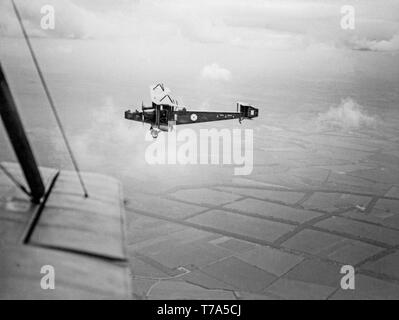 Air to air black and white photograph of a British Royal Air Force, Royal Flying Corps, Handley Page 0/400 fighter bomber, taken in 1918 during World War One. - Stock Image