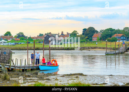 Suffolk, UK - September 8, 18 - Tourists boarding the rowing boat operating across the River Blyth from Southwold to Walberswick in the county Suffolk - Stock Image