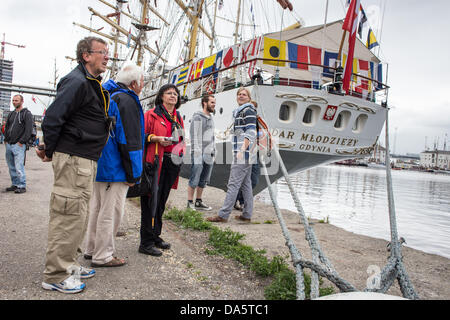 Aarhus, Denmark. 4th July, 2013. Visitors at The Tall Ships Races 2013 in Aarhus, Denmark. The city of Aarhus in - Stock Image