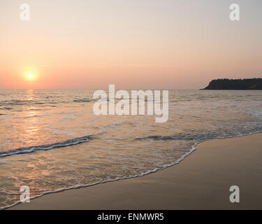 Agonda beach in Goa South India at sunset - Stock Image