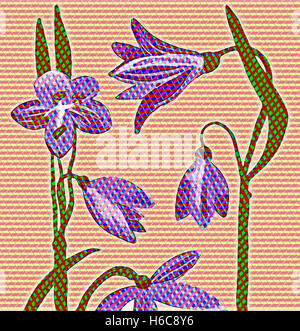 Flower Eight. Painting digitally adjusted - Stock Image