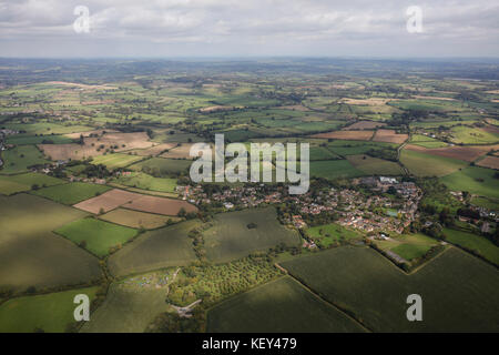 An aerial view of the Somerset village of North Cadbury and surrounding countryside - Stock Image