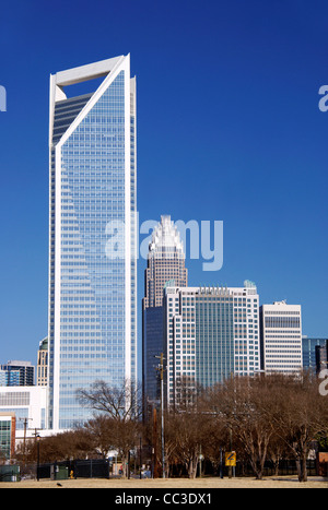 Charlotte, North Carolina, NC. View of Duke Energy Center and Bank of America tower. - Stock Image
