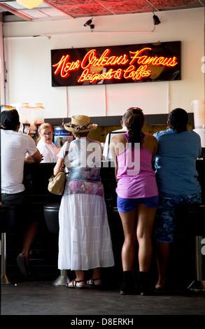 Interior of New Orleans Beignet Café Shop, Louisiana - Stock Image