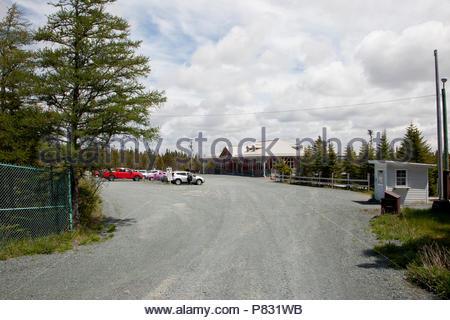 June 22, 2018- Holyrood, Newfoundland: The parking lot and interpretation centre at Salmonier Nature Line - Stock Image