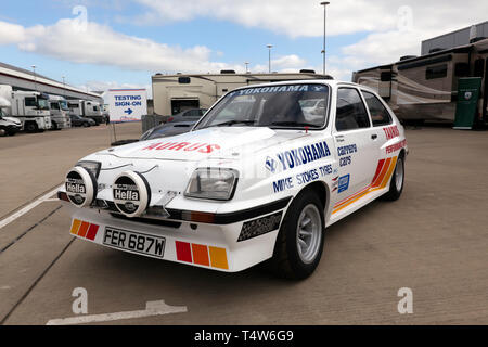 A 1980 Vauxhall Chevette HSR driven by Paul Watkins and Bill Gwynne, in the International Paddock, during the 2019 Silverstone Classic Media Day - Stock Image