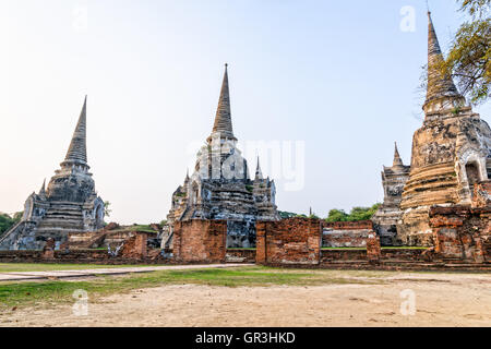 Ruins of ancient architecture three pagoda of Wat Phra Si Sanphet old temple famous attractions at Phra Nakhon Si - Stock Image