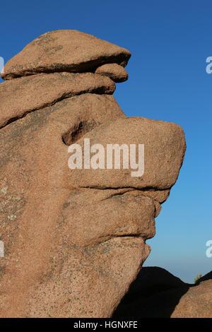 Face like rock Garden of the Gods Park Colorado Rocky Mountain - Stock Image