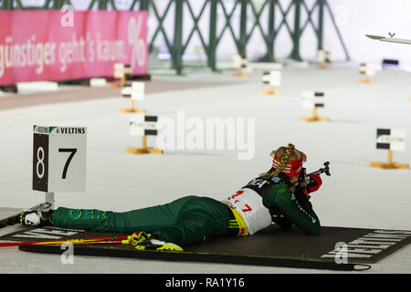 Franziska Pfnür. The German Team Challenge takes place during the JOKA Biathlon WTC auf Schalke featuring young German biathlethes. - Stock Image