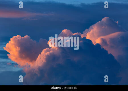 Cumulus clouds catching the last light of sunset - Stock Image
