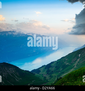 View of Lake Brienz from Brienzer Rothorn, Canton of Bern, Switzerland - Stock Image