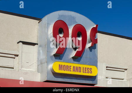 view up at 99¢ store sign - Stock Image
