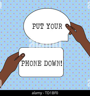 Conceptual hand writing showing Put Your Phone Down. Concept meaning end telephone connection saying goodbye caller Two Figured Tablets Signs Held in  - Stock Image
