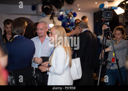 Stockholm, Sweden, September 9, 2018. Swedish General Election 2018.  Election Night Watch Party for Sweden Democrats (SD) in central Stockholm, Sweden.Kent Ekeroth attends. Credit: Barbro Bergfeldt/Alamy Live News - Stock Image