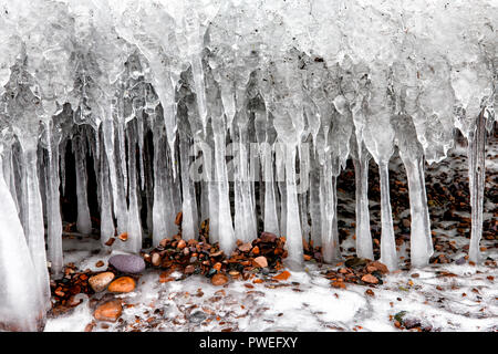 Ice formation on the north shore of Lake superior near Silver Bay, Minnesota - Stock Image