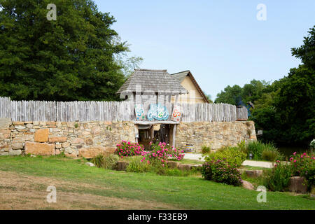 The entrance to Le Village Gaulois, Cotes d'Armor, Brittany, France, Europe. - Stock Image