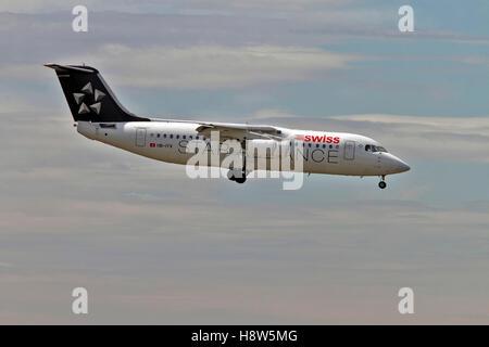 Swiss Global Air Lines British Aerospace Avro RJ100 at Milan - Malpensa (MXP / LIMC) Italy - Stock Image