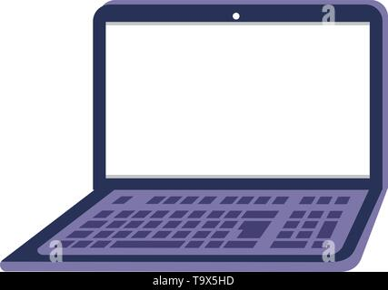 Laptop design, Digital technology communication social media internet web and screen theme Vector illustration - Stock Image