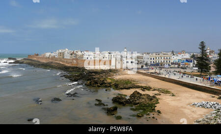 General view of the anciend walled city of Essaouira in Morocco. An important port on the Atlantic coast. - Stock Image