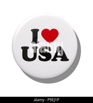 A white I love USA badge - Stock Image