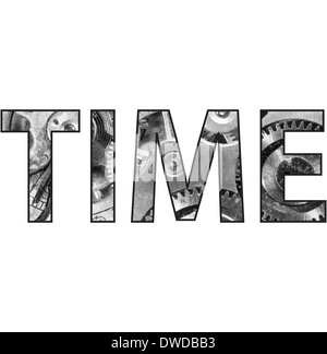 A clipping mask saying time over a pocket watch image - Stock Image