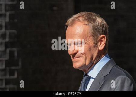 London, United Kingdom. 25 June 2018. Donald Tusk, President of the European Council, arrives at Downing Street to meet with UK Prime Minister Theresa May. Credit: Peter Manning/Alamy Live News - Stock Image