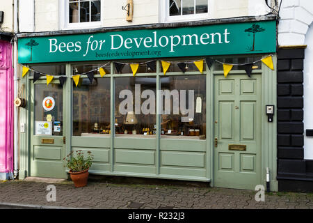 Monmouth, 'Bees for Development' shop on Agincourt Street in the town centre. - Stock Image