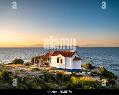 Thasos island symbol, the Two Apostoles Church near Karnagio Beach and Limenas Town - Stock Image