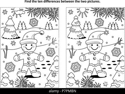 Winter holidays, Christmas or New Year themed find the ten differences picture puzzle and coloring page with ginger man cookie. - Stock Image