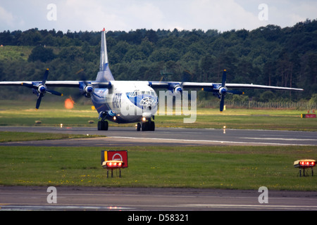 Gromov Air (Irkut-Avia) Antonov An-12 on runway at Farnborough International Airshow 2012 - Stock Image
