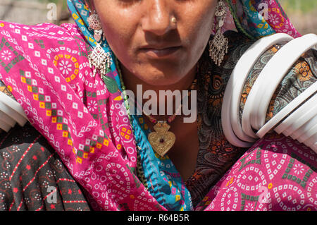 Rabari woman in traditional dress - Stock Image