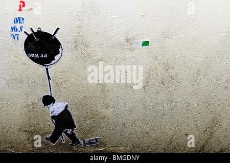 LET wheatpaste graffiti artwork mine balloon dusseldorf - Stock Image