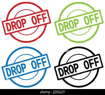 DROP OFF text, on round simple stamp sign, in color set. - Stock Image