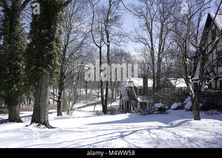 Chappaqua, NY - 18 Feb 2018: USA Weather - After unseasonably warm weather last week, New York Northern Westchester - Stock Image