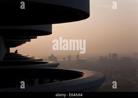 Balcony and view over Bangkok at dawn, Thailand - Stock Image
