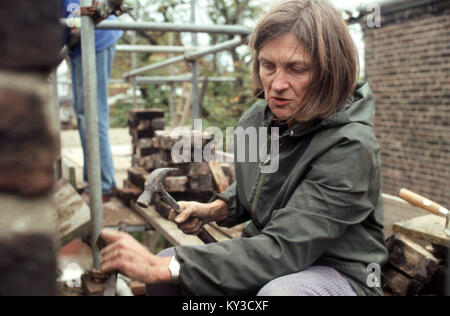 Husband and wife doing building work on the house - Stock Image