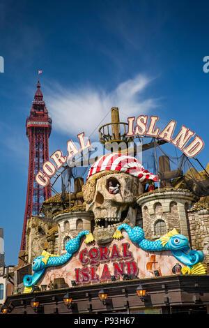UK, England, Lancashire, Blackpool, Promenade, Coral Island pirate themed attraction entrance - Stock Image