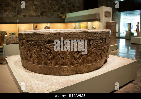 Round Stone Cuauhxicalli Decorated with Battle Scenes Between Pre-Columbian Aztec Warriors, Museum of Anthropology, - Stock Image