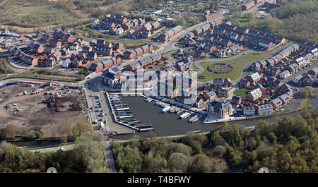 aerial view of a new housing development at Pennington Wharf Marina, Leigh, Lancashire - Stock Image