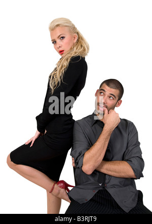 adorable couple on isolated background - Stock Image