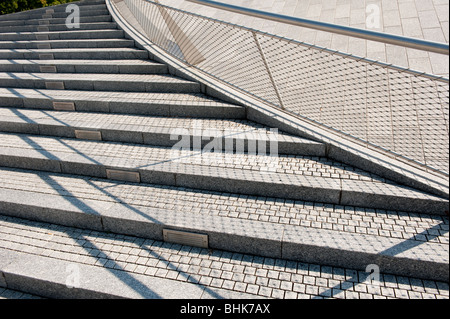 image of stone steps and railing detail - Stock Image