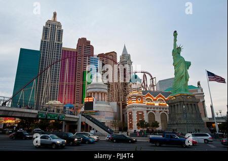 USA, Nevada State, Las Vegas city, New York Hotel - Stock Image