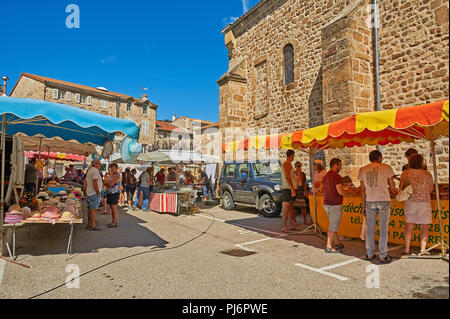 Saint Felicien, Ardeche, Rhone Alps, France and a street market in the centre of the town. - Stock Image