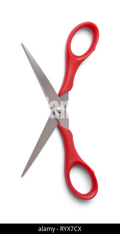 Red Scissors Open Wide Isolated on White. - Stock Image