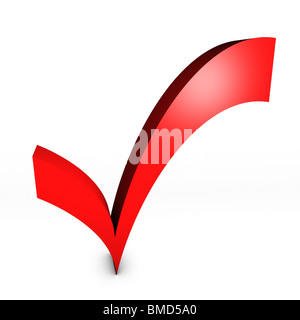 Red voting tick - Stock Image
