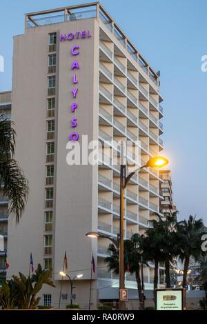 The Hotel Calypso at dusk in Benidorm New Town, Alicante Province, Benidorm. - Stock Image