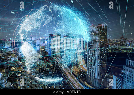 Smart city and global network concept. - Stock Image
