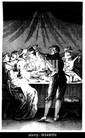 Carnival celebration around 1580, ,  (cultural history book, 1875) - Stock Image